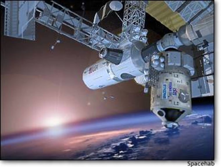 An artist's conception shows the Enterprise module hanging down from a port on the International Space Station.