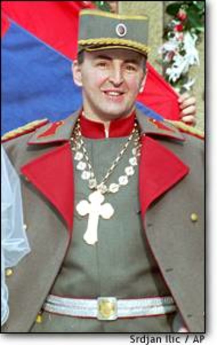 """Zeljko Raznatovic, better known as """"Arkan,"""" wore this World War I military uniform for his wedding in 1995."""
