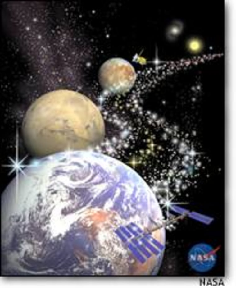 A NASA illustration on astrobiology begins with Earth and the International Space Station, then proceeds outward to Mars, Europa and the stars.