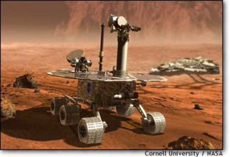 The Mars Exploration Rover, shown in this artist's conception, was developed at Cornell University for NASA.