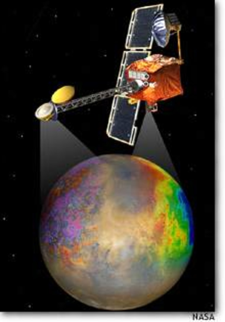 An artist's conception shows NASA's 2001 Mars Odyssey probe mapping the Red Planet.