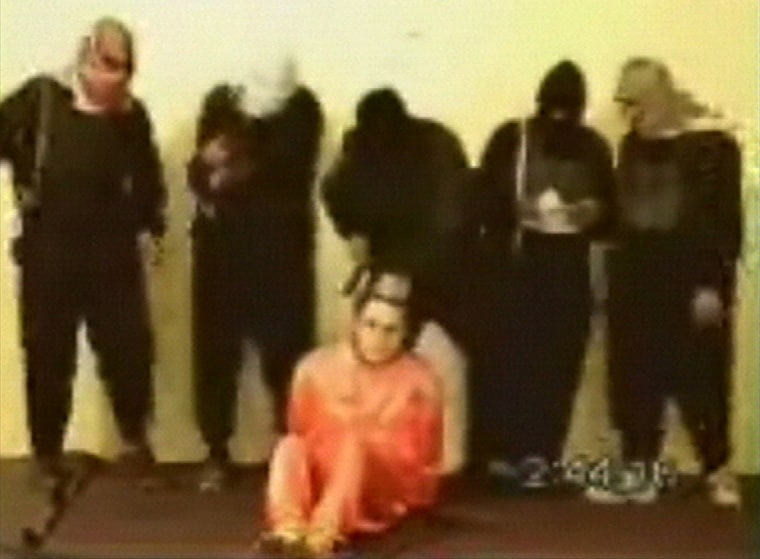 This video, posted inMay2004 on an Islamic militant Web site, showedAmerican hostageNick Berg, who is believed to have been beheaded by Abu Musab al-Zarqawi.