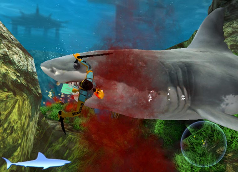 """In this image from video, provided by publisher Majesco, a killer shark takes a bite out of a diver in the game """"Jaws Unleashed"""" for the PlayStation 2 and Xbox."""