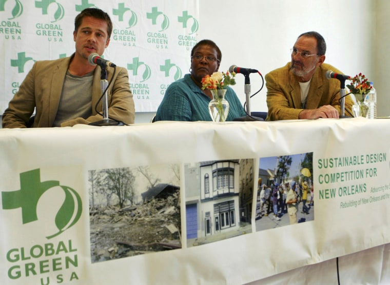 """Actor Brad Pitt speaks during press briefing about """"Sustainable Design Competition for New Orleans"""" in New Orleans"""