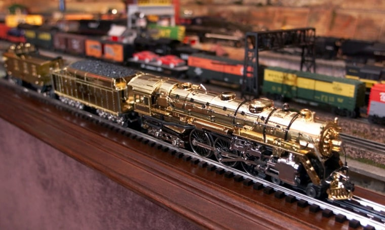 The 100th anniversary gold 700E J-1E Hudson engine is shown at the headquarters of Lionel in Chesterfield Township, Mich., in Sept. of 2000. The electric train maker filed for Chapter 11 bankruptcy protection on Monday.