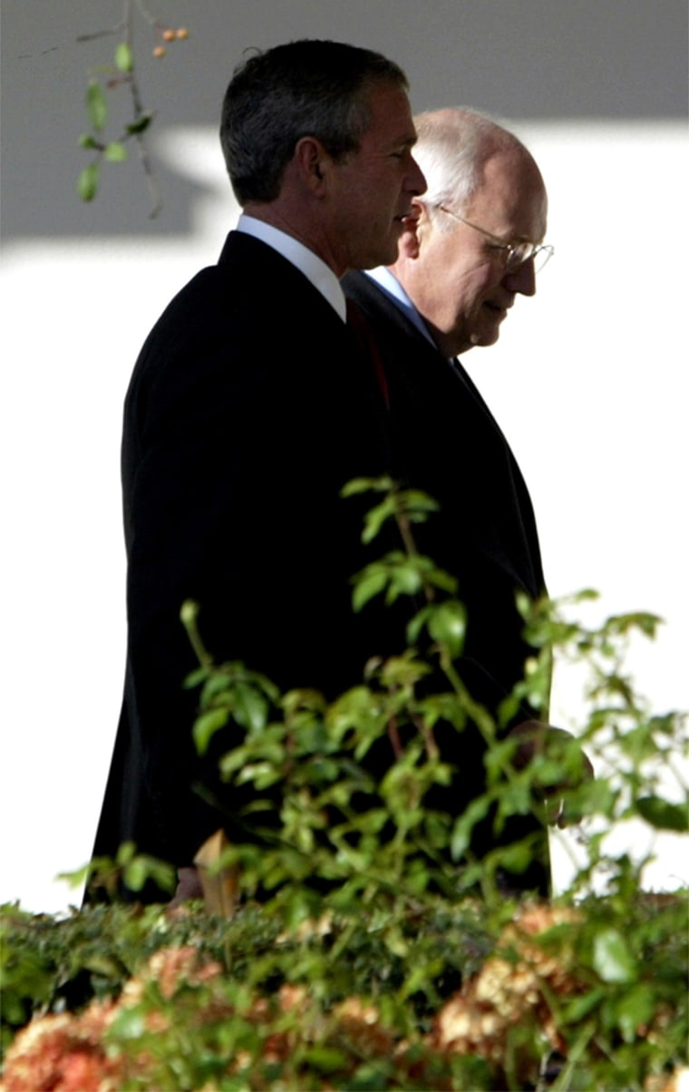 PRESIDENT BUSH AND VICE PRESIDENT CHENEY WALK FROM THE OVAL OFFICE