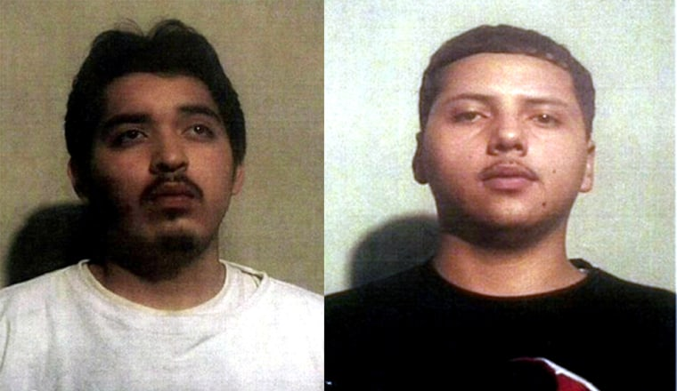 A photo made available by Montgomery County, Md., police shows Jesus Alex Pineda, 19, right, and Christian Brian Montano, 19. Both are accused of stealing a Veterans Administration computer holding records on millions of vets.