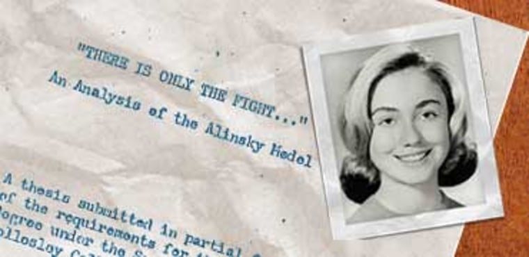 Hillary Rodham in 1965, when she was president of Wellesley College's Young Republicans, shown here with the cover page of her senior thesis from 1969 on radical organizer Saul D. Alinsky.
