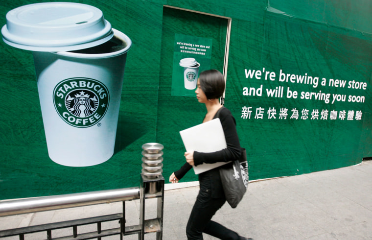 Image: advertising for a new Starbucks coffee shop, Hong Kong,