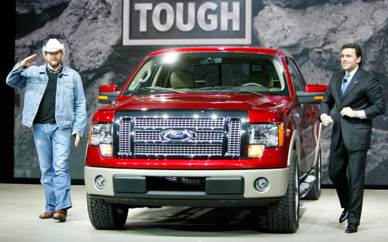 Image: Ford Motor Company President, The Americas, Mark Fields presents the 2009 Ford F-150 pickup truck in Detroit