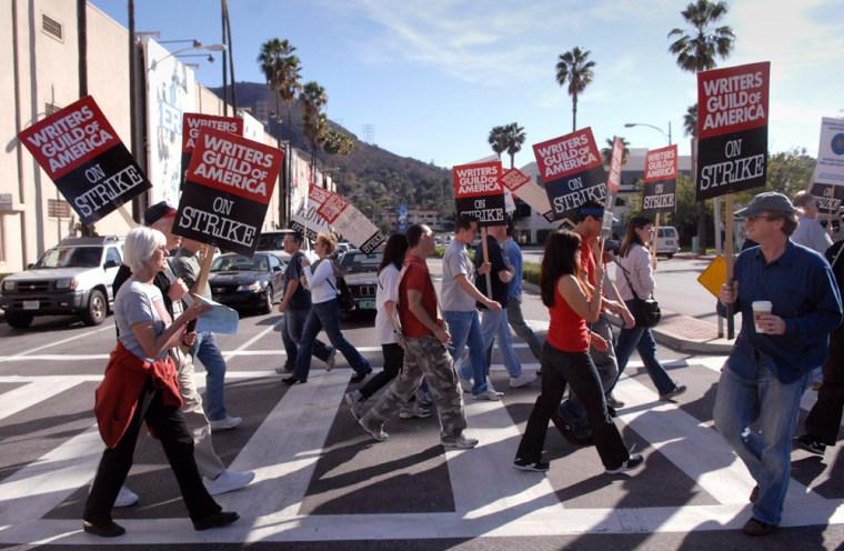 Image: Writers Guild of America members strike in Burbank, Calif.