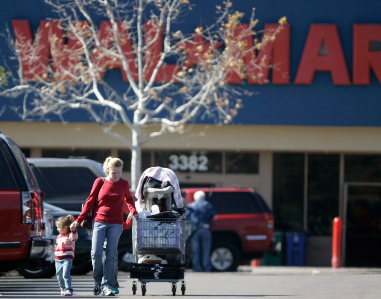 Image: Shoppers outside a Wal-Mart store in San Diego, Ca.