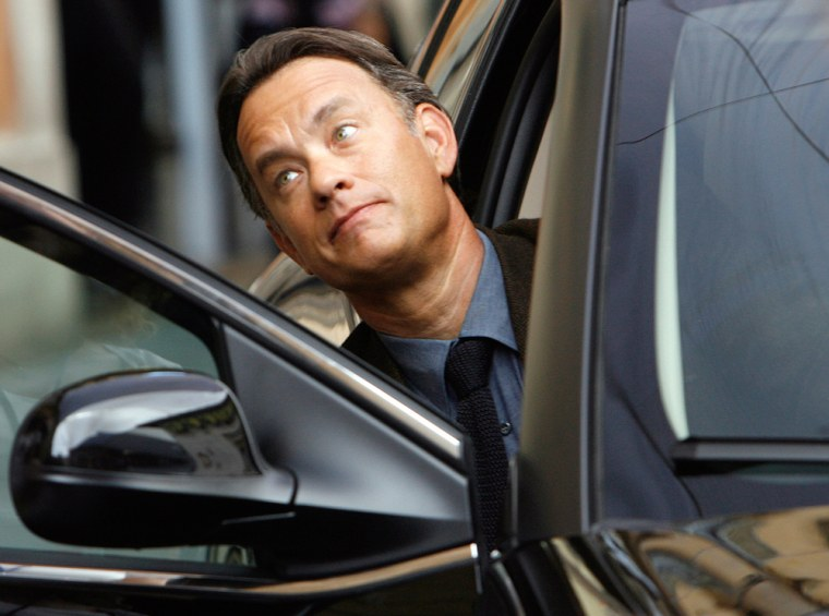 """Image: U.S. actor Tome Hanks on the set of """"Angels and Demons"""" in Rome"""