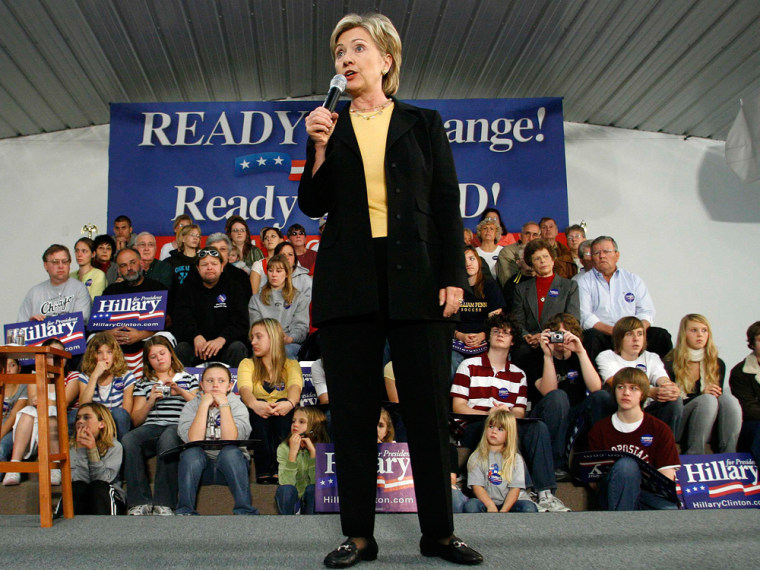 Democratic presidential candidate Senator Hillary Clinton (D-NY) speaks to supporters during a campaign stop in Oskaloosa