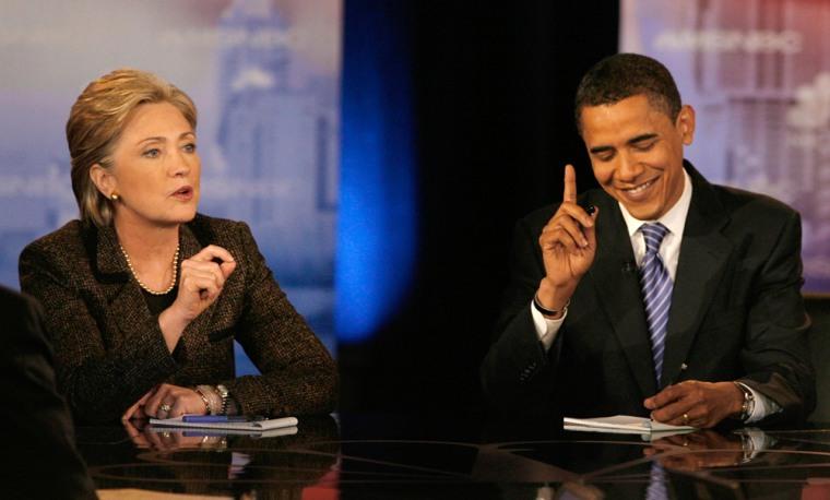 Image: US Democratic presidential candidates Senator Clinton and Senator Obama