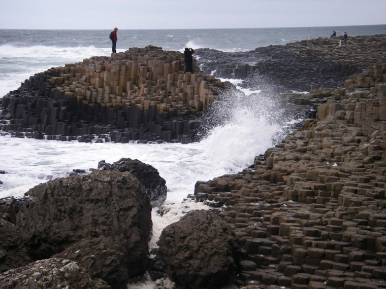 The basalt columns at Giants Causeway in County Antrim in Northern Ireland, are the result of volcanic activity, but according to legend, a giant warrior named Finn McCool built the causeway to walk to Scotland.