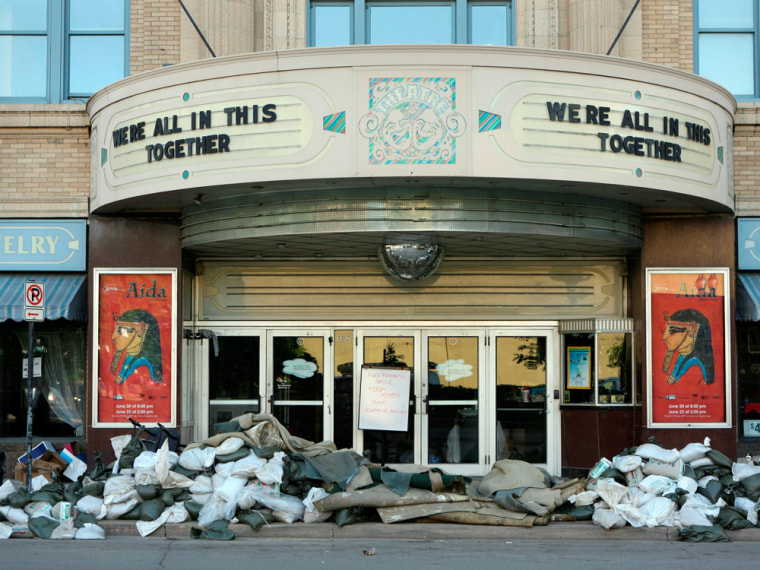 Image: A theater in the flood zone downtown Cedar Rapids, Iowa