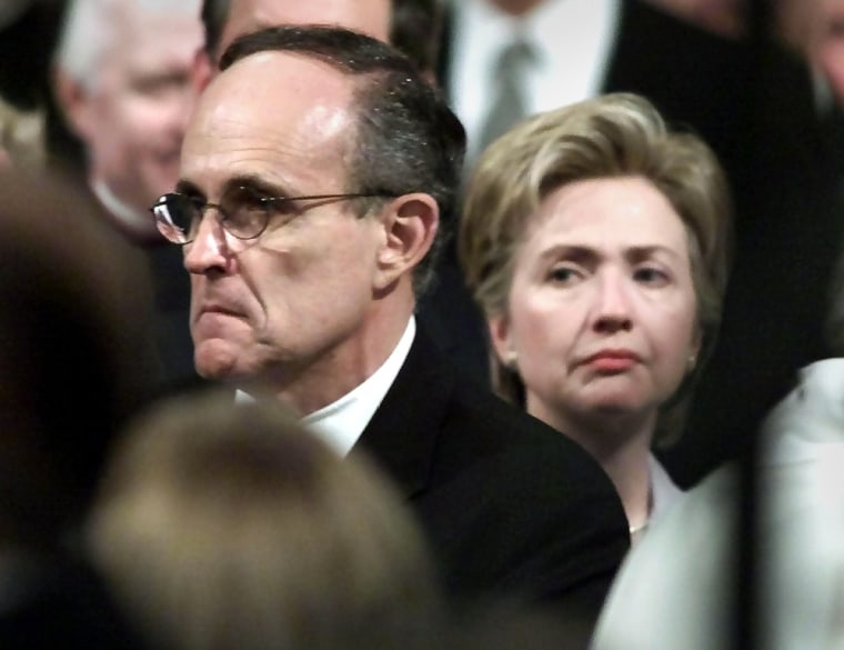 Image: New York senatorial candidates Rudy Giuliani and Hillary Clinton in May 2000.