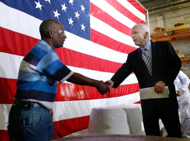 Image: Senator John McCain shakes hands