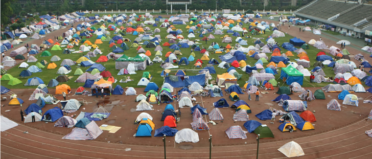 Image: Tents set up in sports field