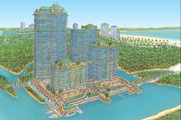 An artist's rendering from a Paradise Properties brochure envisions the completed Breezes condominium project.