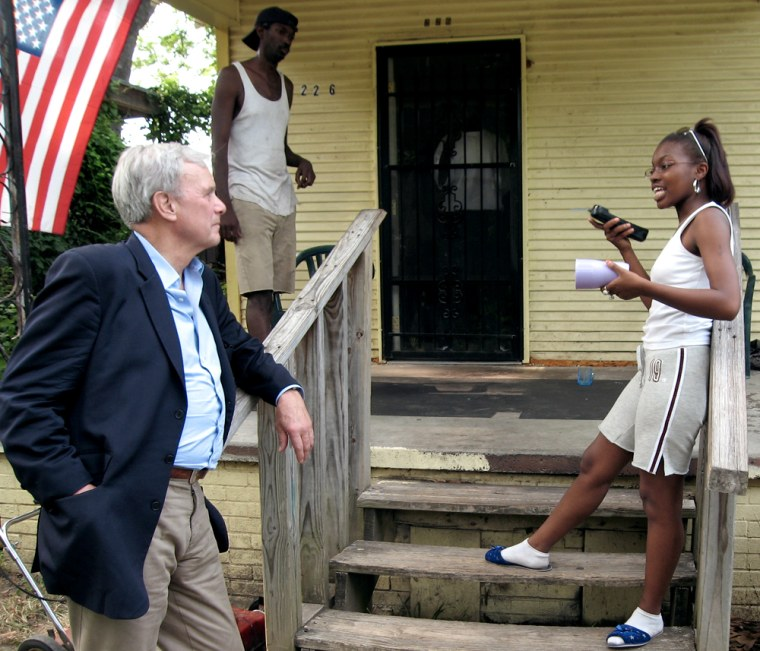 Tom Brokaw speaks withAlicia Ruffin, 17, a teenage mother struggling to get her diploma