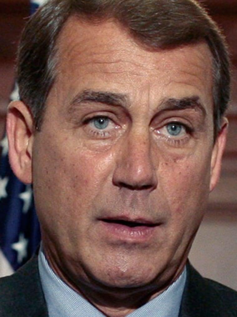 House Minority Leader Boehner speaks alongside Blunt and Johnson in Washington