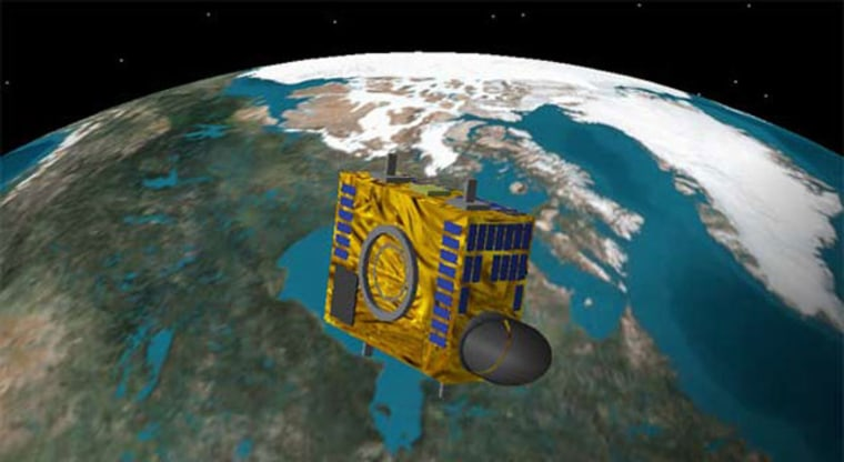 An illustration of NEOSSat, the 65 kg satellite expected to launch in 2010 and track asteroids and satellites orbiting near the Earth. Credit: CSA/DRDC via CBC News