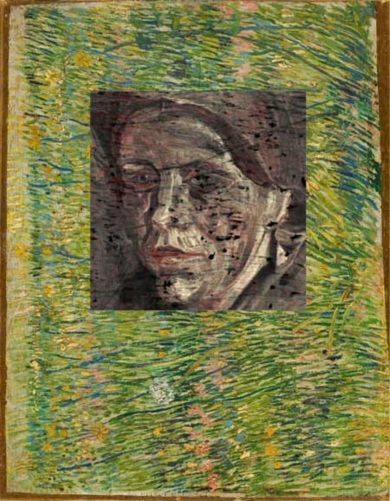 """""""Patch of Grass"""" was painted by Van Gogh in Paris in 1887. Behind the painting is a portrait of a woman. Credit: TU Delft"""