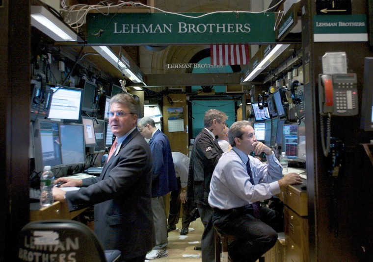 Image: Lehman Brothers traders at the New York Stock Exchange