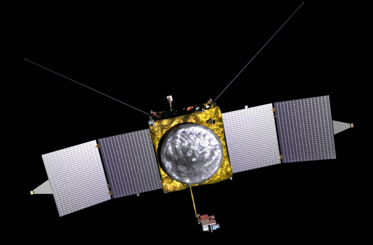 Image: an artist's conception of the Maven spacecraft