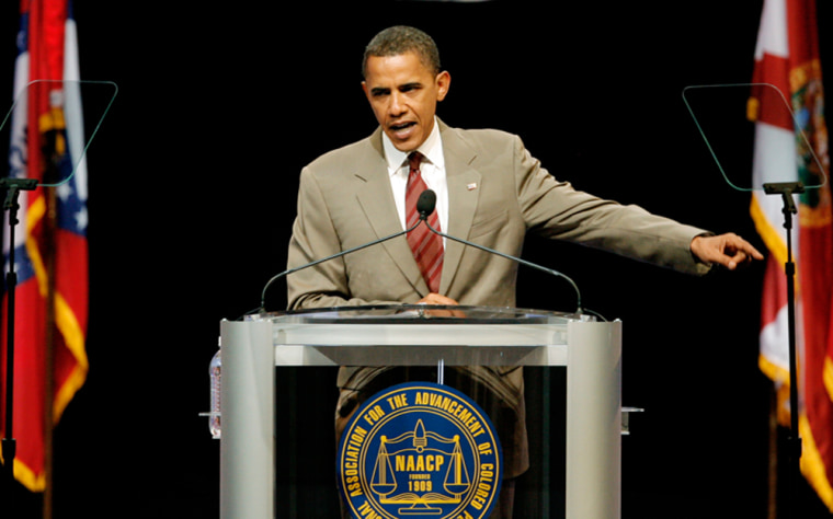 Image: Democratic presidential candidate Senator Barack Obama addresses supporters during a campaign stop at the NAACP National Convention in Cincinnati