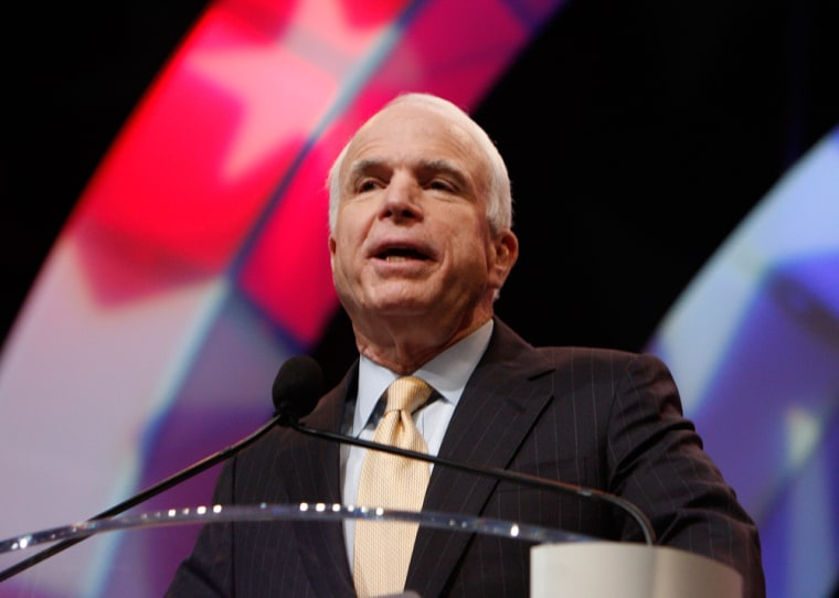 Republican presidential candidate Senator John McCain addresses supporters during a campaign stop at the NAACP Image: National Convention in Cincinnati