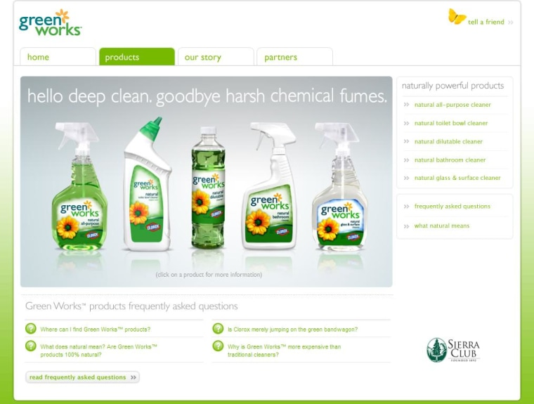 Clorox's Web site for its Green Works cleansers includes the Sierra Clublogo at bottom right.