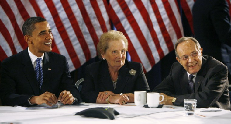 Image: Barack Obama meets with a foreign policy panel of former US officials in Washington