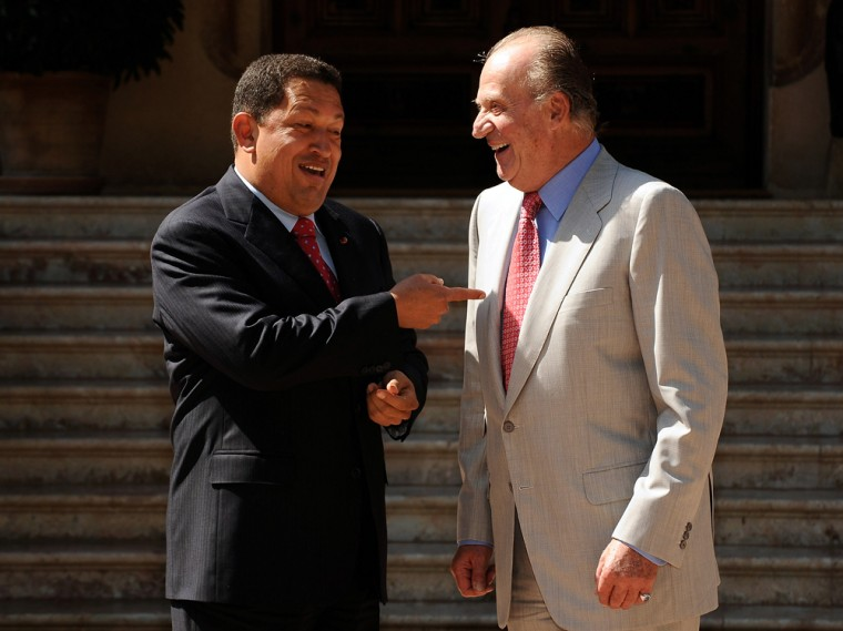 Image: King Juan Carlos Meets Venezuelan President Hugo Chavez