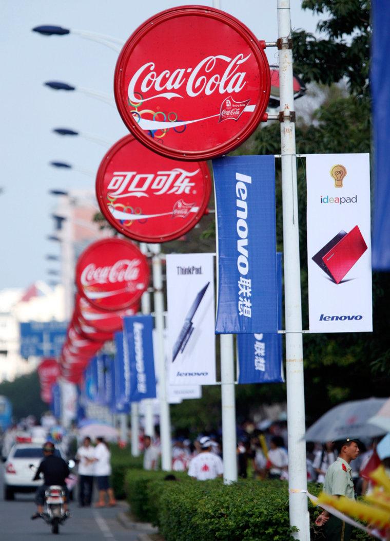 Image: Coca-Cola and Lenovo signs