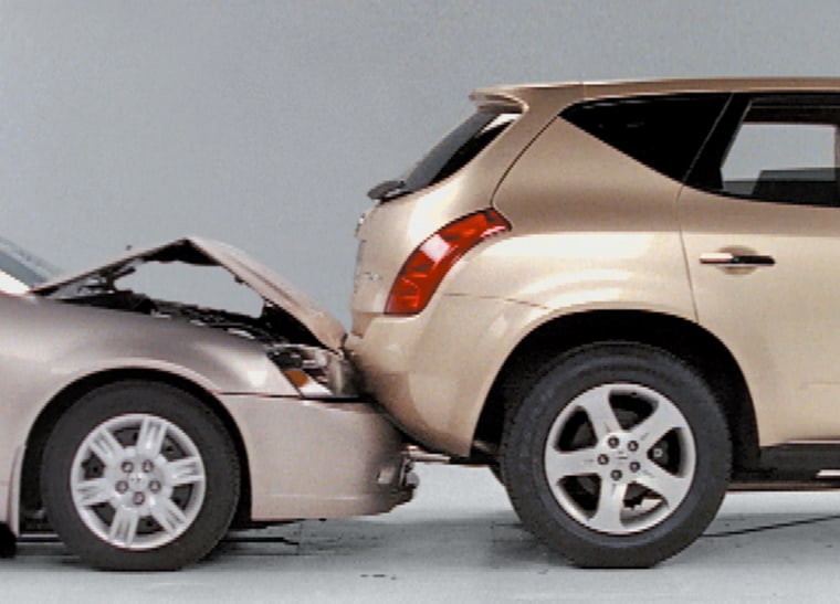 This Nissan Altima, left,sustained a total of $4,507 damage when it struck the back of a Nissan Murano at 10 mph.