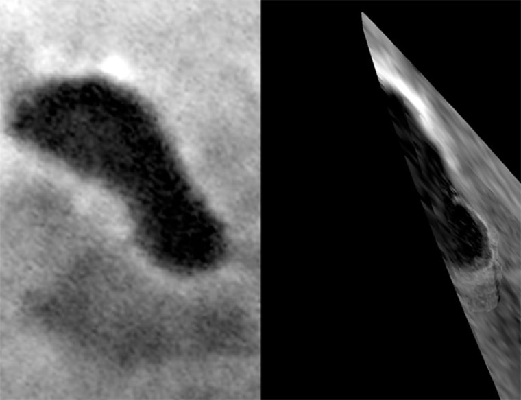 A partial view of Titan's Ontariou Lacus (right image) from 680 miles away shows what appears to be a beach in the lower right of the image, below the bright lake shoreline. An image was also taken of the lake feature in June 2005 (left image).