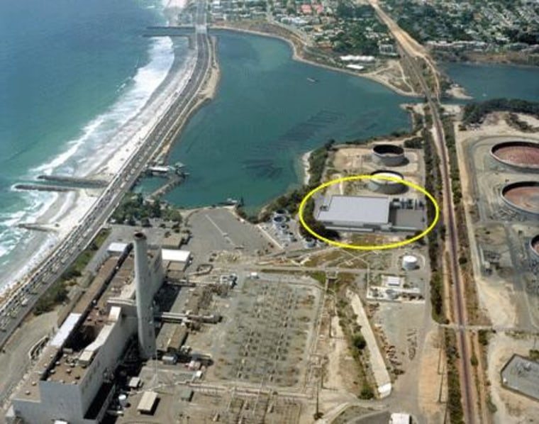 The circled area shows a digitally added image representing the approved desalination plant in Carlsbad, Calif. The goal is to site it inside an existing power plant.