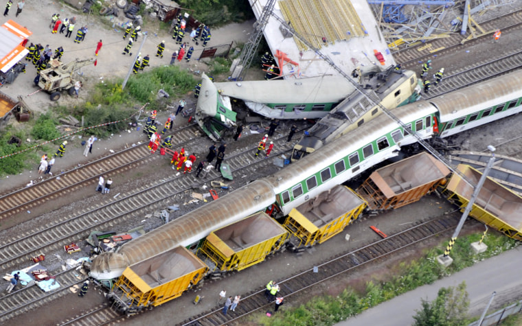 Image: An areal view shows the scene of the train accident