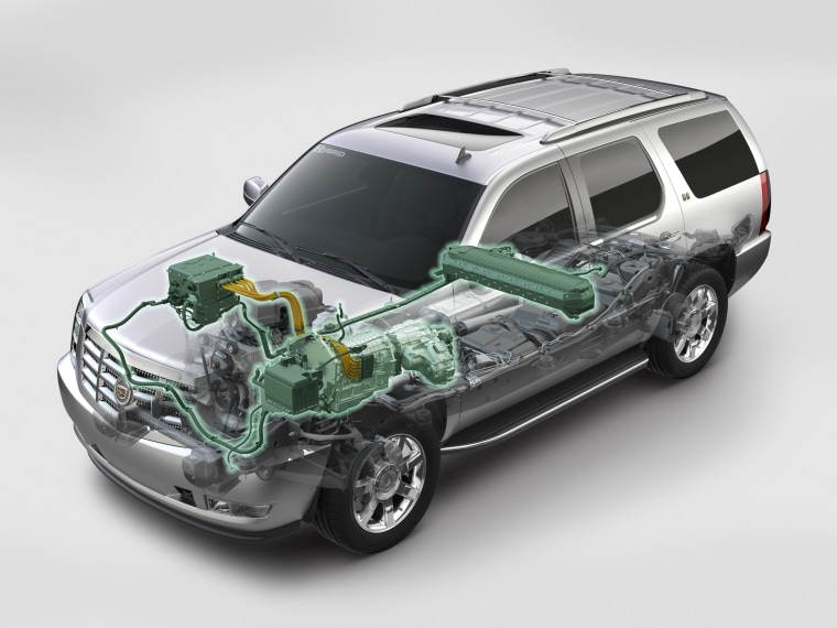 This GM sketch of the 2009 Cadillac Escalade Hybrid shows the electric components, including the battery pack at center, that create a 50 percent fuel economy improvement in city driving.