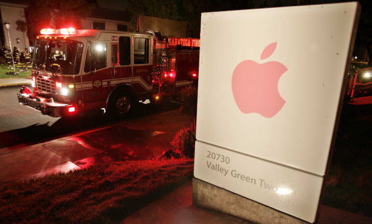 Image: A firetruck is shown in front of Apple headquarters in Cupertino, Calif.