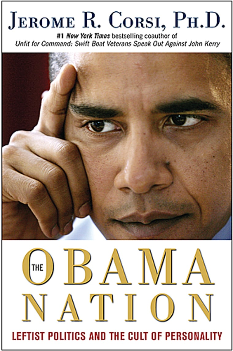 "In this photo released by Threshold Editions shows the cover of ""The Obama Nation-Leftist Politics and the Cult of Personality,"" by Jerome R. Corsi,Ph.D.(AP Photo/Threshold Books) **NO SALES**"