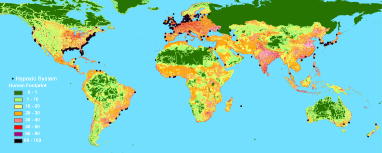 This map compares the location of 400 dead zones (black dots) with humanity's footprint — ranging from low population density in green to highdensity in darker colors.