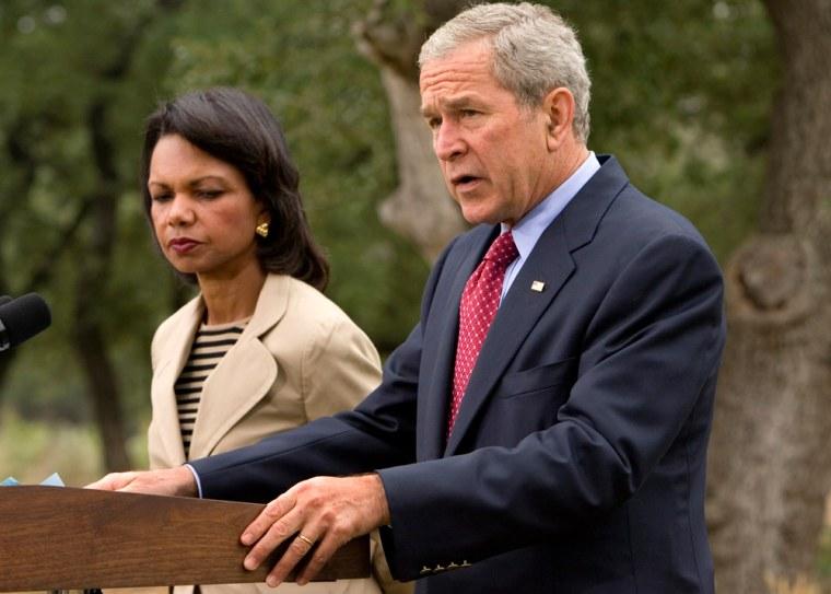 Image: George W. Bush, Condoleezza Rice