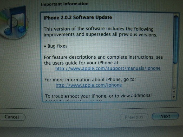 "Image: Screenshot for iPhone ""bug fix"""