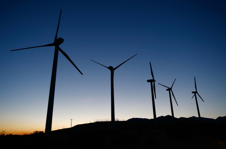 Image :  Giant wind turbines are powered by strong prevailing winds