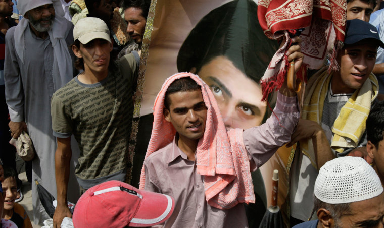 Image: Worshipper demonstrate against Condoleezza Rice's visit to Iraq