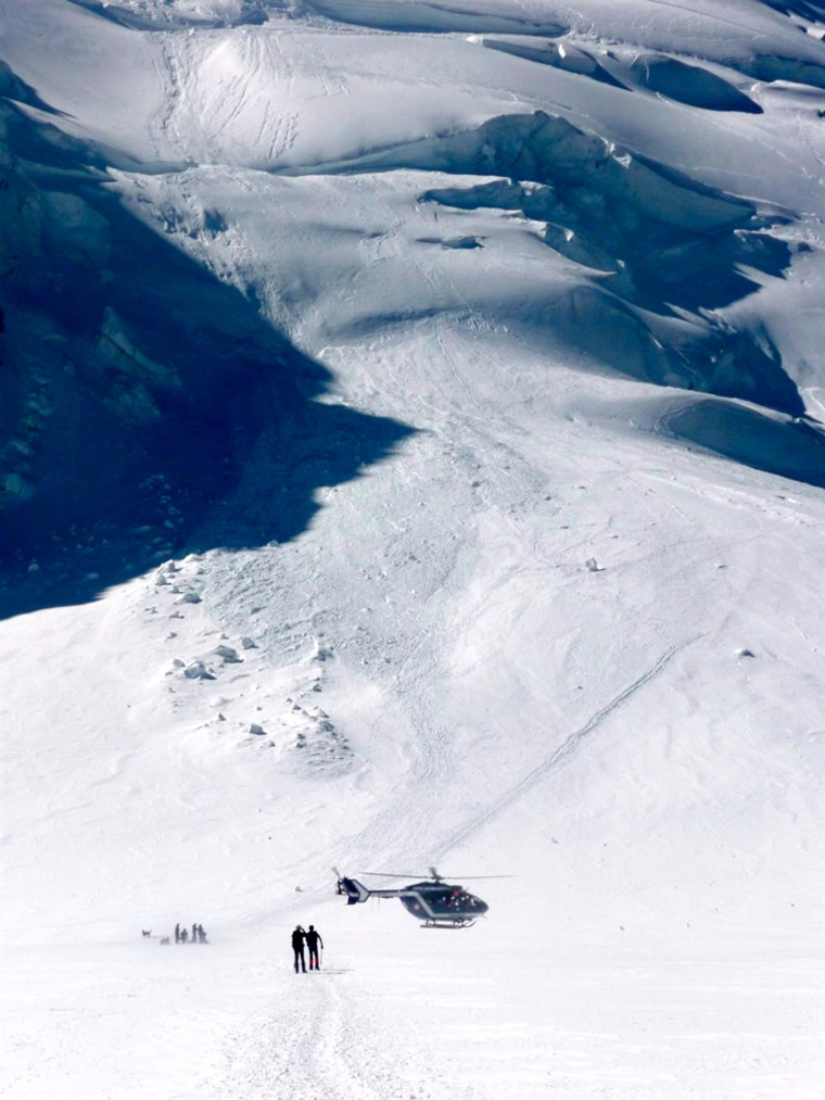 Avalanche in Mount Blanc Massif